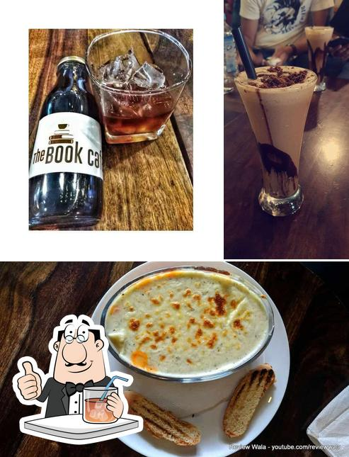 This is the photo showing drink and cake at Book Cafe