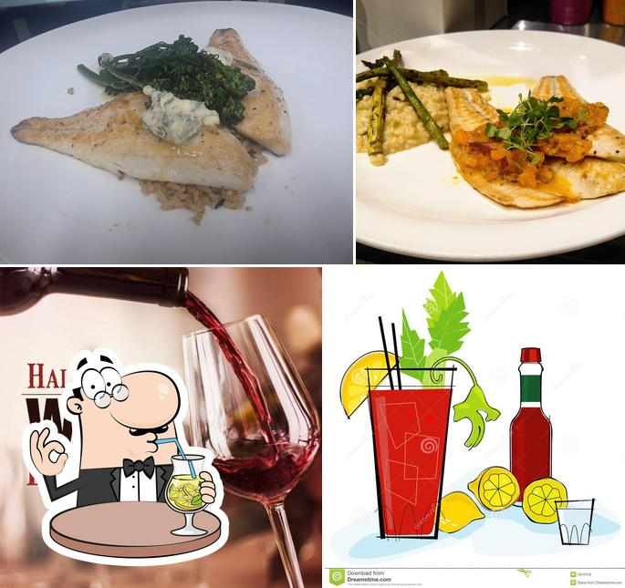Check out the picture displaying drink and food at Evergreen