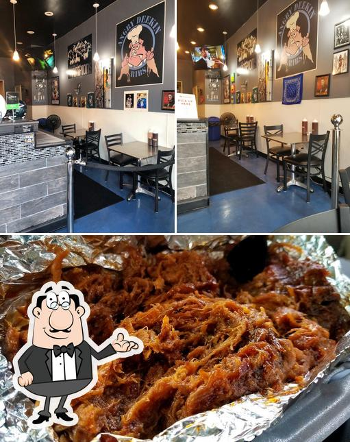 This is the image displaying interior and food at Angry Deekin BBQ