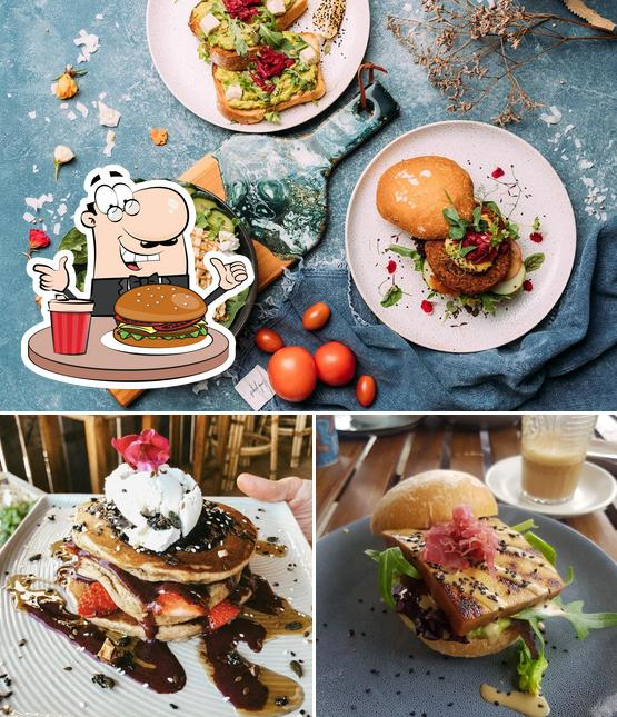 Try out a burger at The Yoga Place Cafe