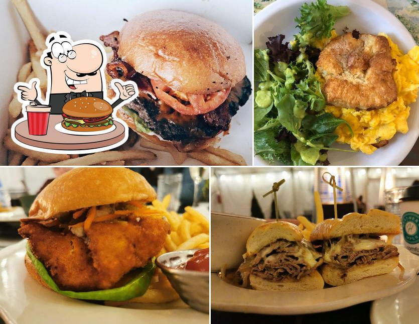Order a burger at Heather's