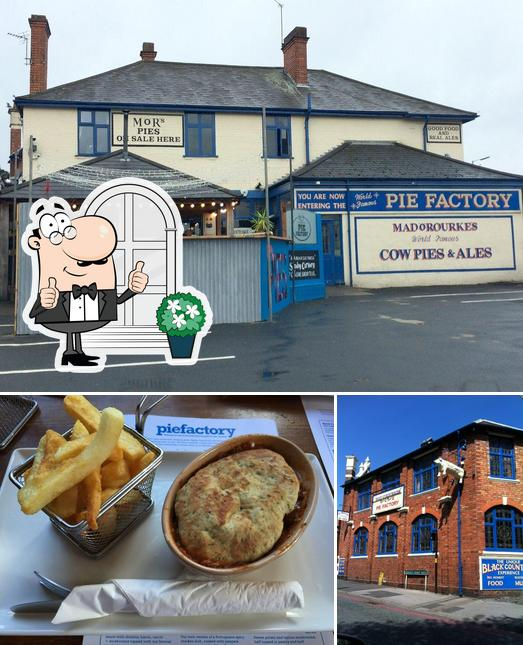 Among various things one can find exterior and food at Mad O'Rourkes Pie Factory