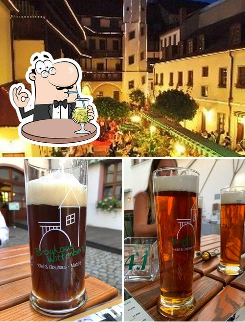 This is the image showing drink and exterior at Brauhaus Wittenberg