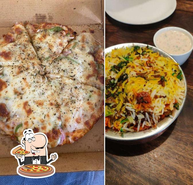 Get pizza at Book Cafe