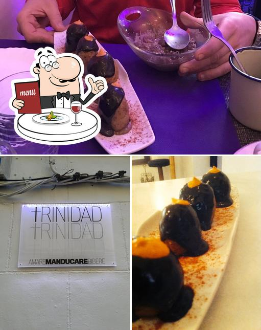This is the picture displaying food and interior at Trinidad