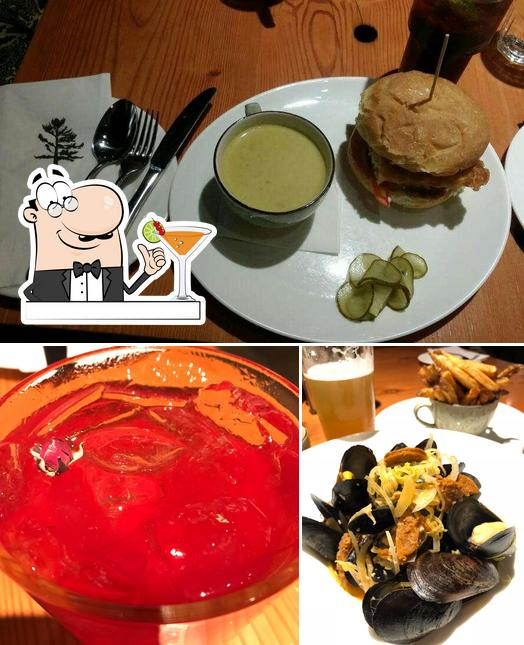 This is the picture showing drink and burger at Miijidaa Café + Bistro