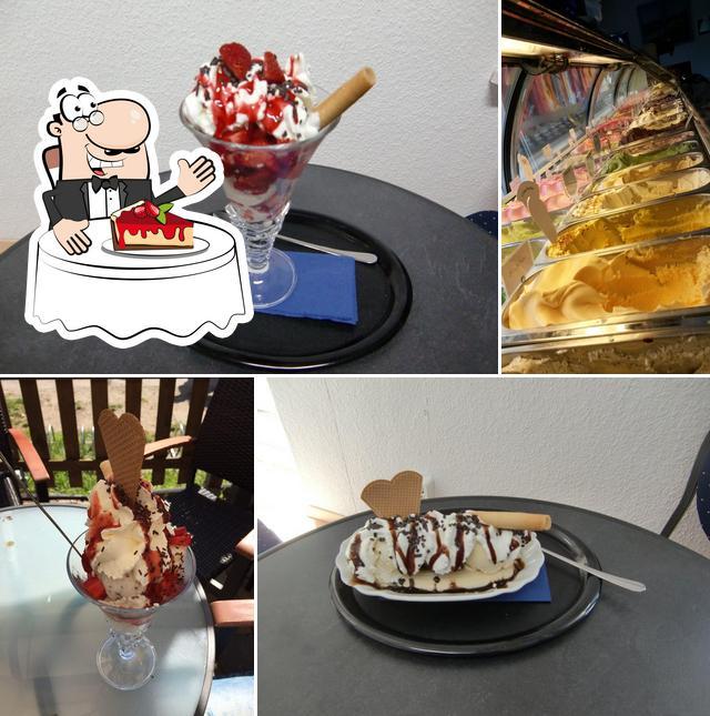 Eiscafé Eisjunge serviert eine Vielfalt von Desserts