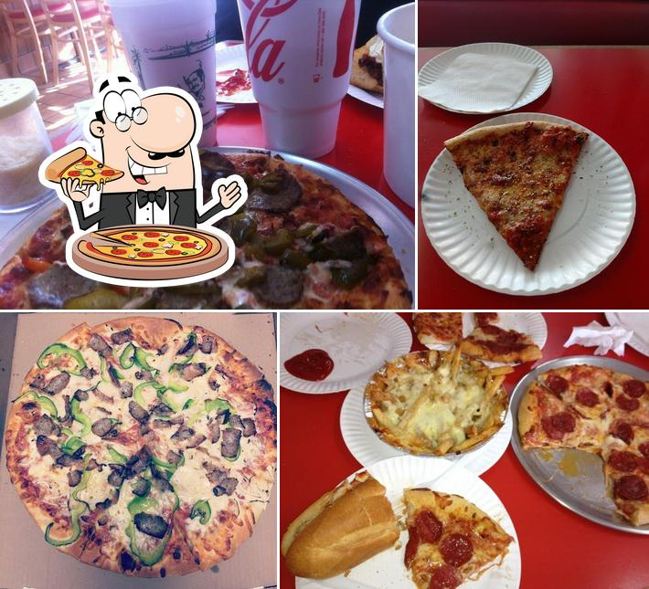 Pick pizza at Louie's Pizza