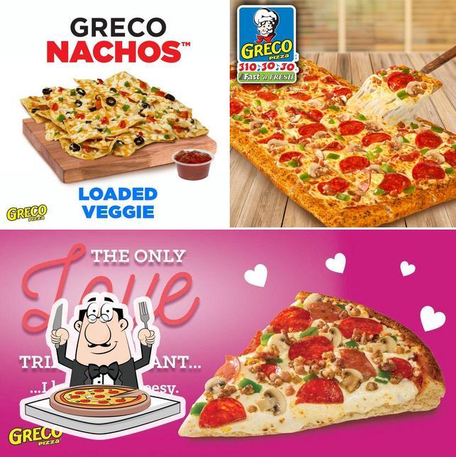 Pick pizza at Greco Pizza