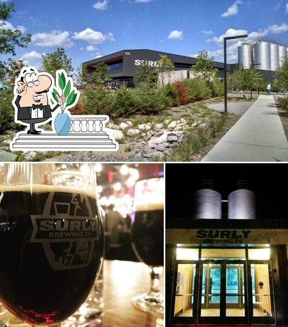Among various things one can find exterior and beer at Surly Brewing