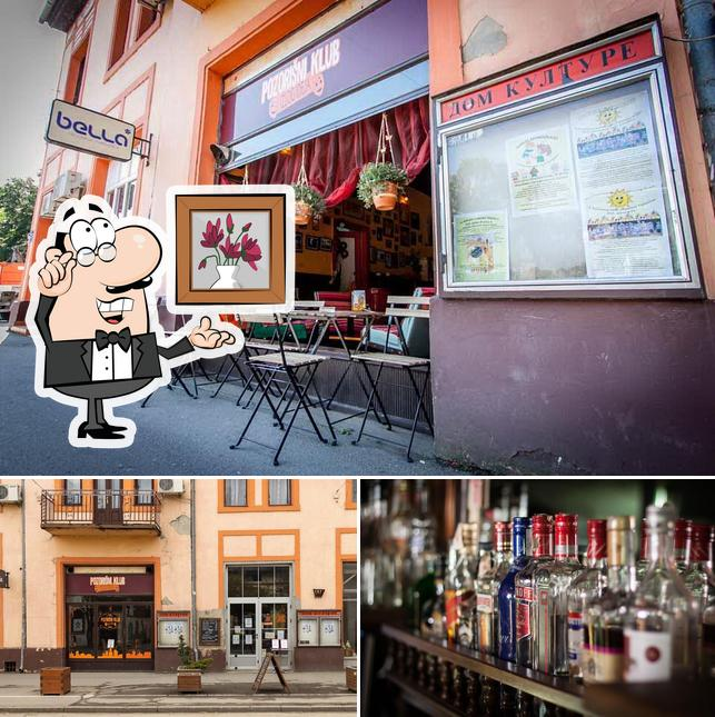 The restaurant's interior and alcohol