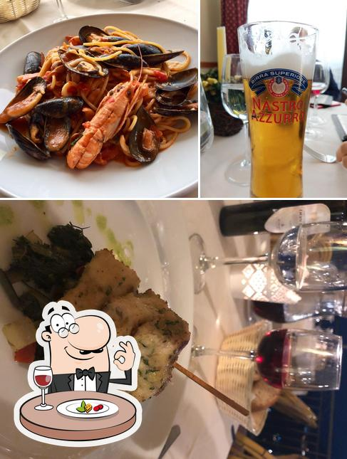 This is the image depicting food and beer at Al Saraceno