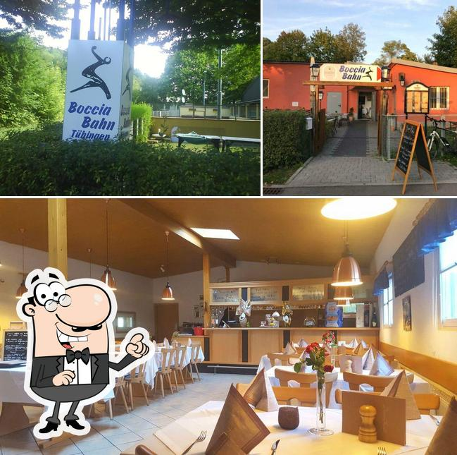 Check out the image depicting exterior and interior at Bocciabahn
