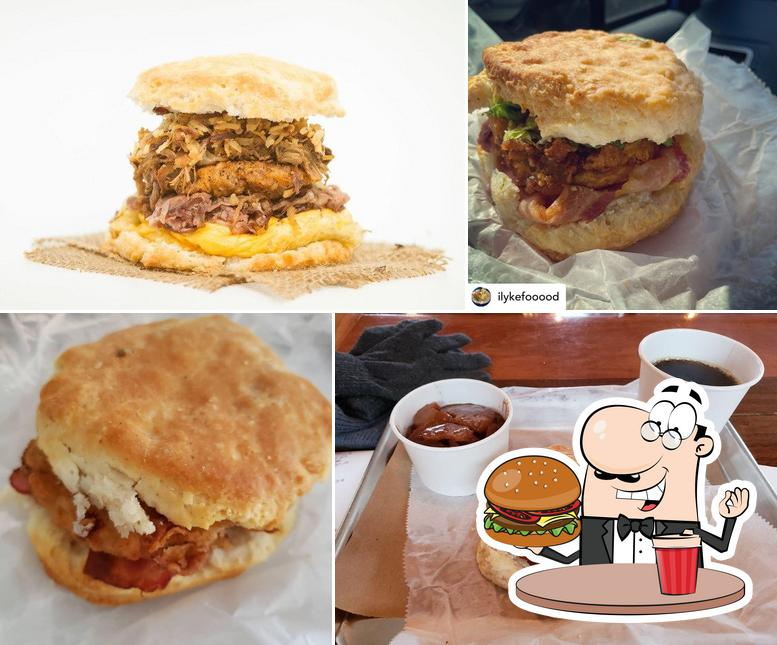 Order a burger at Scratch Biscuit Company