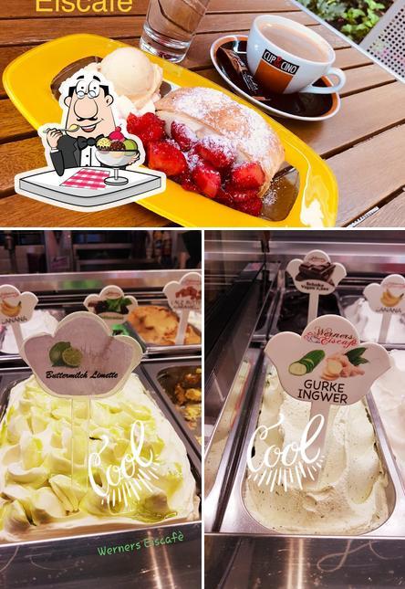 Werners Eiscafé bietet eine Auswahl von Desserts