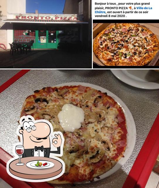 Voici la photo affichant la nourriture et intérieur sur pronto pizza