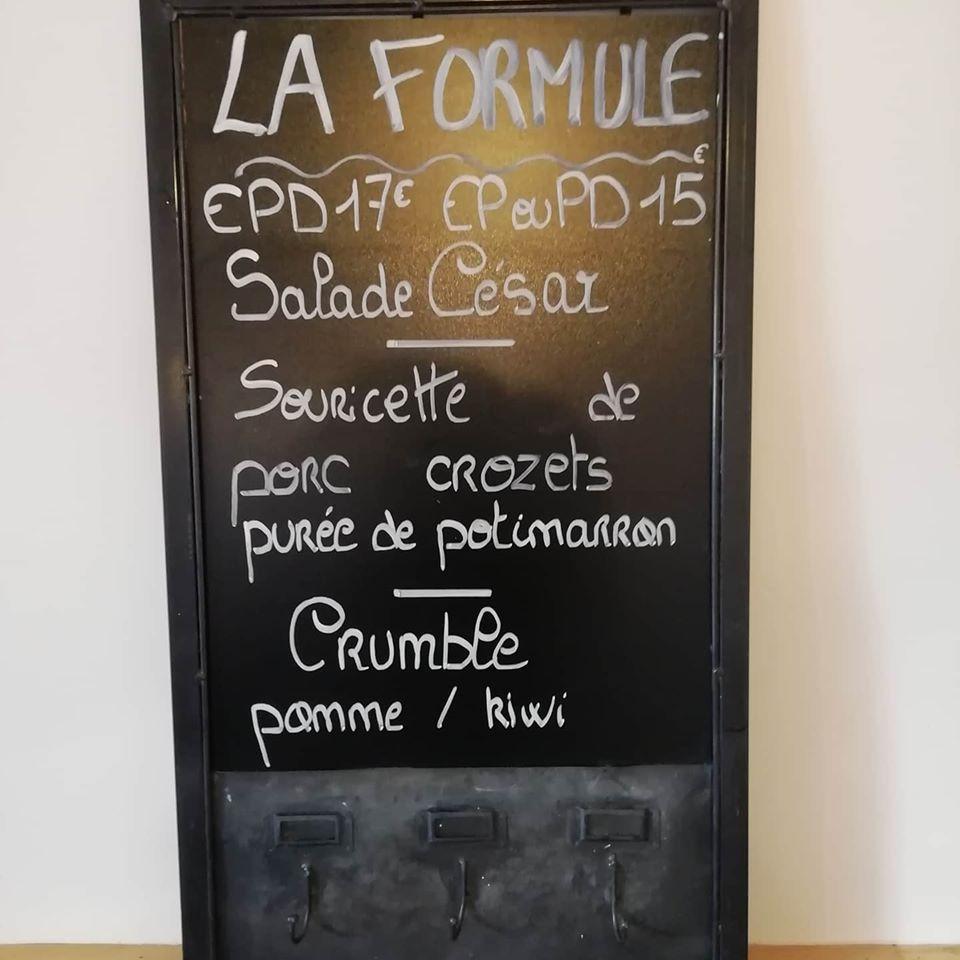 The blackboard menu lists available options